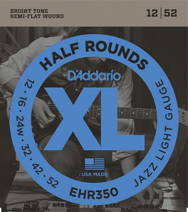 D'Addario EHR350 Half Round Комплект струн для электрогитары, Jazz Light, 12-52
