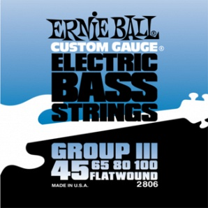 Ernie Ball P02806 FlatWound Group III Комплект струн для бас-гитары, 45-100, сталь