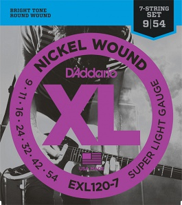 D'Addario EXL120-7 XL NICKEL WOUND Струны для 7-струнной электрогитары Super Light 7-String 9-52 D`Addario