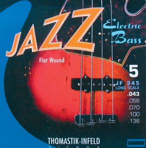 Thomastik JF345 Jazz Flat Wound Комплект струн для 5-струнной бас-гитары, никель, пл.оплетка,43-136