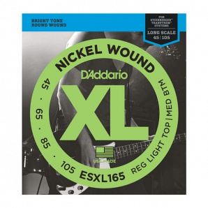 D'Addario ESXL165 Nickel Wound Комплект струн для бас-гитары, Med, 45-105, шарик на 2 конц, Long Sc