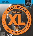 Фото:D'Addario ESXL160 Nickel Wound Комплект струн для бас-гитары, Medium, 50-105, шарик на 2 концах
