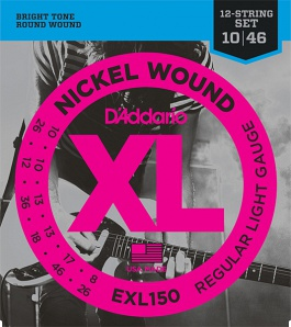 D'Addario EXL150 Nickel Wound Комплект струн для 12-струнной электрогитары, Regular Light, 10-46