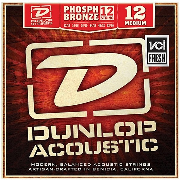 DAP1252J Комплект струн для 12-струнной акустической гитары, фосф.бронза, Medium, 12-52, Dunlop