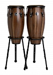 Фото:LATIN PERCUSSION A647B-SW Aspire® Wood Congas Set with Basket Stands Двойная конга